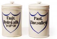 Paar originale Apotheken-Porzellangefäße, deutsch, um 1890. 2 St.