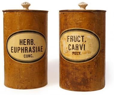 Paar originale Apotheken-Pappdosen, deutsch, um 1890. 2 St.
