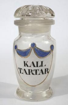 Emailbemaltes Apotheken-Weithalsglas, klassizistisch, um 1840