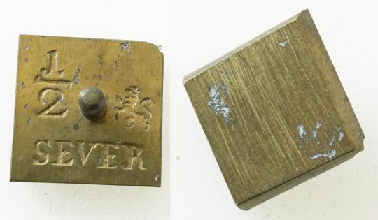 Münzgewicht 1/2 SEVER, bergisch. Aeckersberg.