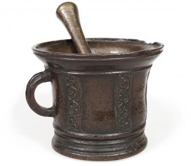 Seltener antiker Bronzemörser aus Italien, 15. Jh.