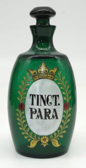 Grüne Apothekerflasche im Stil des 18 Jh., Paraguay-Tinktur, Replik