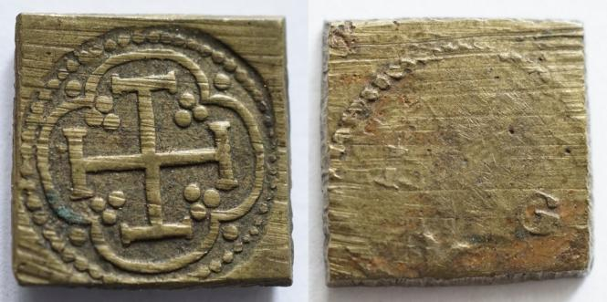 """Münzgewicht 1/2 Pistol, Meister """"LVG"""", Antwerpen, um 1580."""